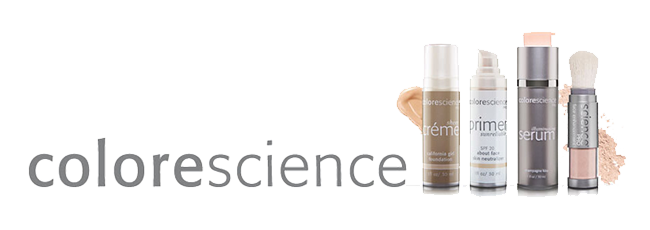 A serum, primer, and creme shown by colorescience on clear background.