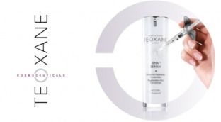 Teoxane Cosmeceuticals Reha Serum product shown with syringe to show that skin improvement can be surgery-free.