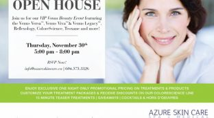 An Annual Holiday Open House Flyer for Azure Skin Care & Spa In Surrey, BC.