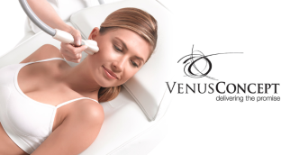 "Venus Concept logo with caption ""delivering the promise"" with woman getting the treatment to look younger forever."