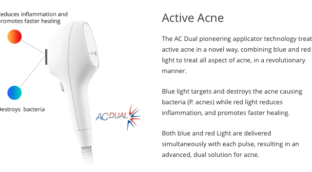 An Intense Pulse Light (IPL) shown with captions pointing to the part that destroys bacteria and reduce inflammation and promote faster healing.
